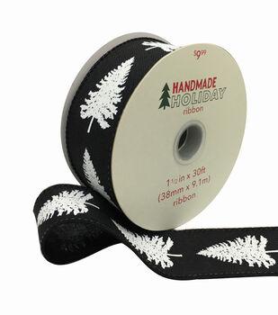 Handmade Holiday Christmas Ribbon 1.5''x30'-White Trees on Black