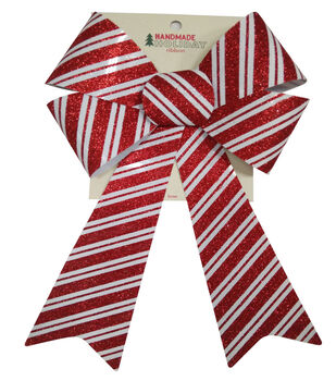 Handmade Holiday Christmas 9''x16.25'' Glitter Bow-Red & White Stripes