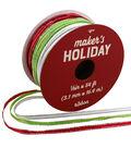 Maker\u0027s Holiday Ribbon 1/8\u0027\u0027x54\u0027-Red, Lime & White with Silver Edge