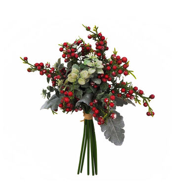 Blooming Holiday Christmas 12'' Red Berry & Greenery Bouquet