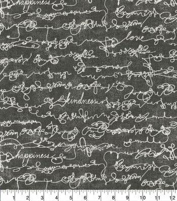Ellen DeGeneres Upholstery Fabric 54''-Charcoal Love Script