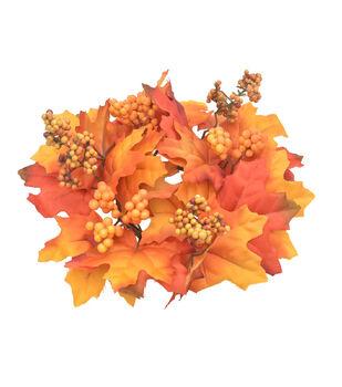 Blooming Autumn Maple Leaf & Berry Mini Wreath-Orange
