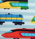 Novelty Cotton Fabric 43\u0022-Multi Color Trains