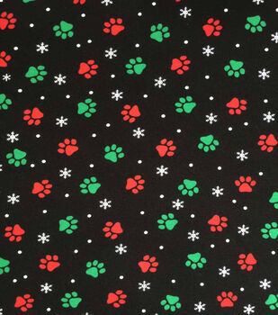 """Doodles Christmas Cotton Fabric 57""""-Black, Red & Green Pawprints"""