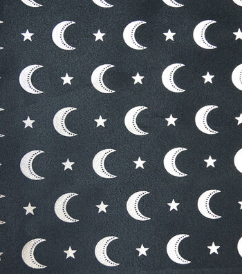 "The Witching Hour Halloween Fabric 57""-Foiled Moons Sheer"