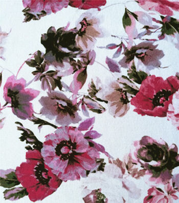 Summer Ponte Knit Fabric 57''-Pink Watercolor Floral