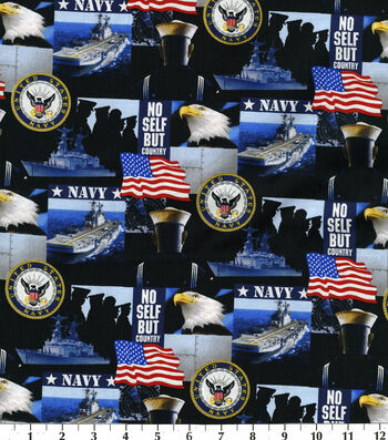 "United States Navy Cotton Fabric 43""-Allover"