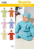 Simplicity Pattern 1565A Infants\u0027 Bunting & Romper-Size XXS-S