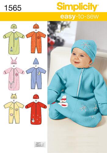 Simplicity Pattern 1565A Infants' Bunting & Romper-Size XXS-S