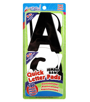 """Quick Letter/Number Pads Repositionable With Centering Ruler-Black & White Jumbo 4"""""""