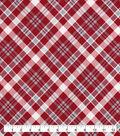 Snuggle Flannel Fabric-Red Gray Bias Plaid