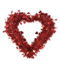 Valentine\u0027s Day Decor Small Heart Shaped Tinsel Wreath-Red
