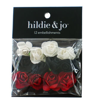 hildie & jo 12 pk Mini Rose Embellishments-White, Black & Red