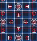 Minnesota Twins Flannel Fabric 42\u0022-Plaid