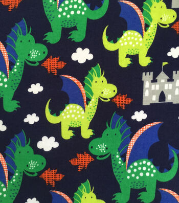 Doodles Juvenile Apparel Knit Fabric 57''-Dragons on Navy