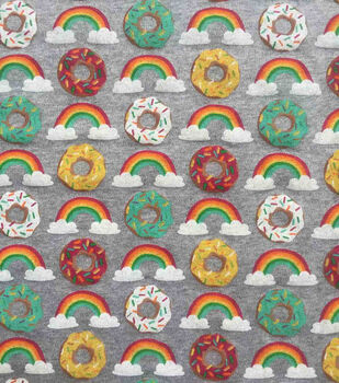 Doodles Juvenile Interlock Knit Fabric 57''-Rainbow Donuts
