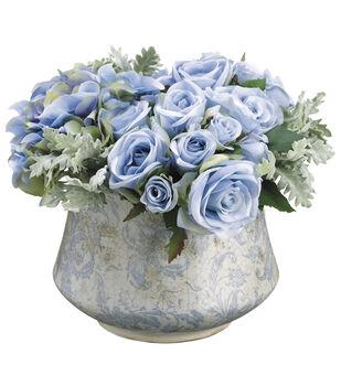 Rose, Dusty Miller & Hydrangea in Terracotta Pot 10''