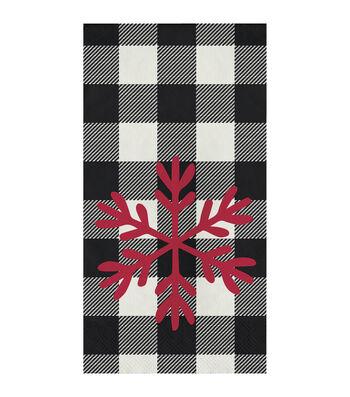 Maker's Holiday 16 pk 4''x8'' Guest Napkins-Buffalo Checks & Snowflake