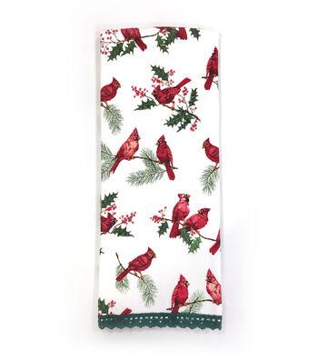 Maker's Holiday Christmas 16''x28'' Kitchen Towel-Cardinals