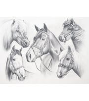 "Sketching By Number Kit 13""X16""-Horse Montage, , hi-res"