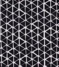 Anti-Pill Plush Fabric-Black Geometric Triangles on White
