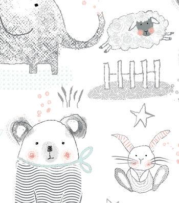 "Nursery Flannel Fabric 43""-Whimsy Multi Animal"