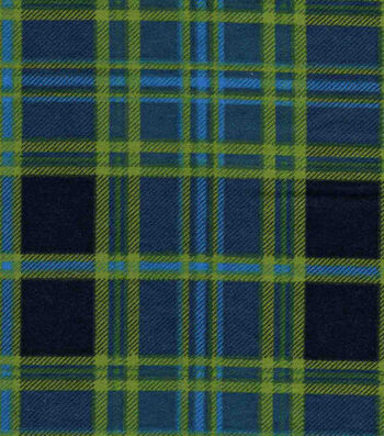 "Snuggle Flannel Fabric 42""-Navy & Green Plaid"
