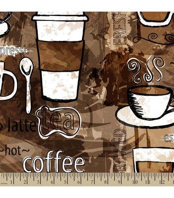 """Anti-Pill Fleece Fabric 59""""-Coffee Anyone"""