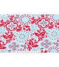 Blizzard Fleece Fabric 59\u0022-Red Turq White Floral