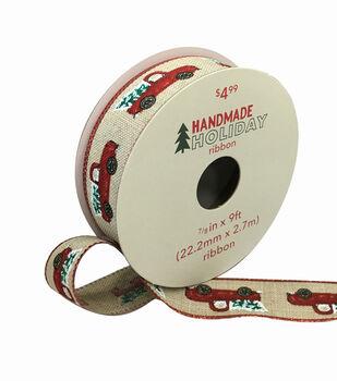 Handmade Holiday Christmas Ribbon 7/8''x9'-Red Trucks on Natural