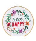 Dimensions Embroidery Kit with Hoop 6\u0022-Choose Happy