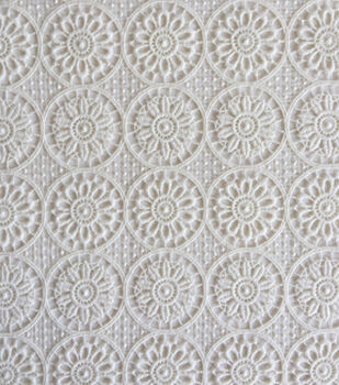 Lace Knit Fabric 48''-Ivory Medallion Floral