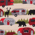 Anti-Pill Plush Fleece Fabric-Retro Camper Wilderness