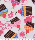 Novelty Cotton Fabric 43\u0027\u0027-Cupcakes & Flowers