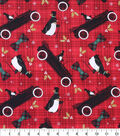 Holiday Cotton Fabric -Penguins In Cars Plaid