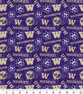 University of Washington Huskies Cotton Fabric-Tone on Tone
