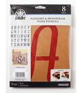 FolkArt 30 pk 8\u0027\u0027 Alphabet & Monogram Paper Stencils-Italic