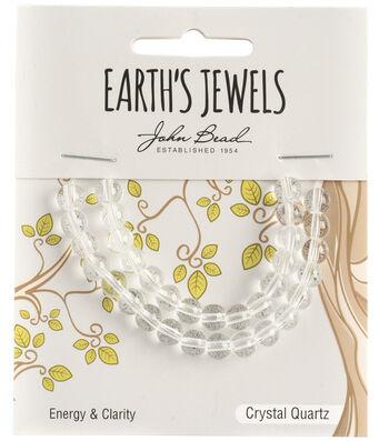 Earth's Jewels Semi-Precious Round 6mm Beads-Crystal Quartz