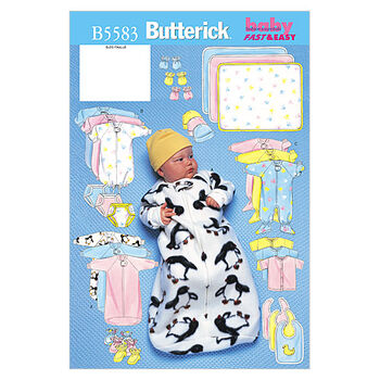 Butterick Pattern B5583 Infants' Casual Outfits-Size NB-S-M