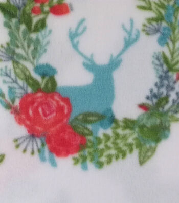 """Anti-Pill Fleece Fabric 59""""-Stag Coral Mint Floral"""
