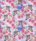 Anti-Pill Plush Fleece Fabric-Floral Unicorn