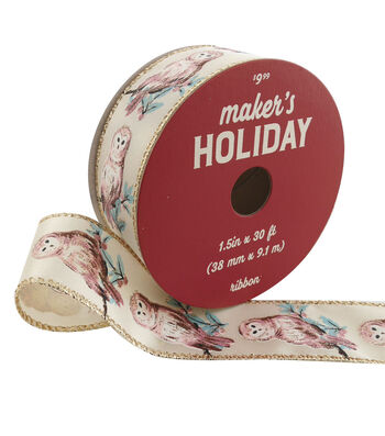 Maker's Holiday Christmas Ribbon 1.5''x30'-Whimsical Owls on Ivory