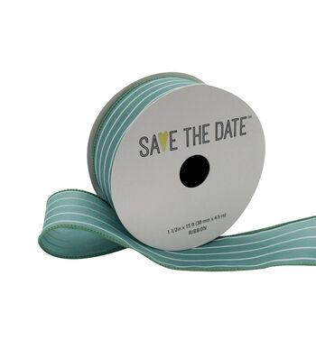 "Save the Date 1.5"" x 15ft Ribbon-Eucalyptus White Stripe"