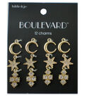 hildie & jo Boulevard 12 Pack Moon & Star Gold Charms-Crystals