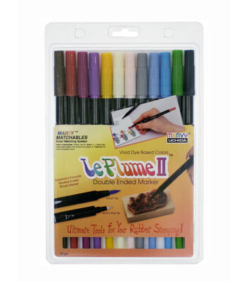 Marvy Uchida Le Plume II Pack of 12 Watercolor Marker Set-Basic