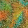 Batik Cotton Fabric-Scrolls Orange Metallic