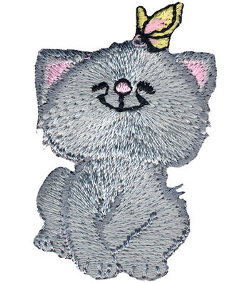 """Wrights Iron-On Appliques-Cat W/Butterfly 2""""X1-1/4"""" 1/Pkg"""