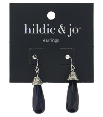 hildie & jo Silver Dangle Earrings-Black Drop