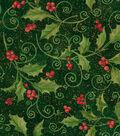 Maker\u0027s Holiday Cotton Fabric 43\u0022-Holly Vine