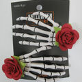 hildie & jo Halloween Jewelry 2 pk Skeleton Hands Hair Clips with Rose